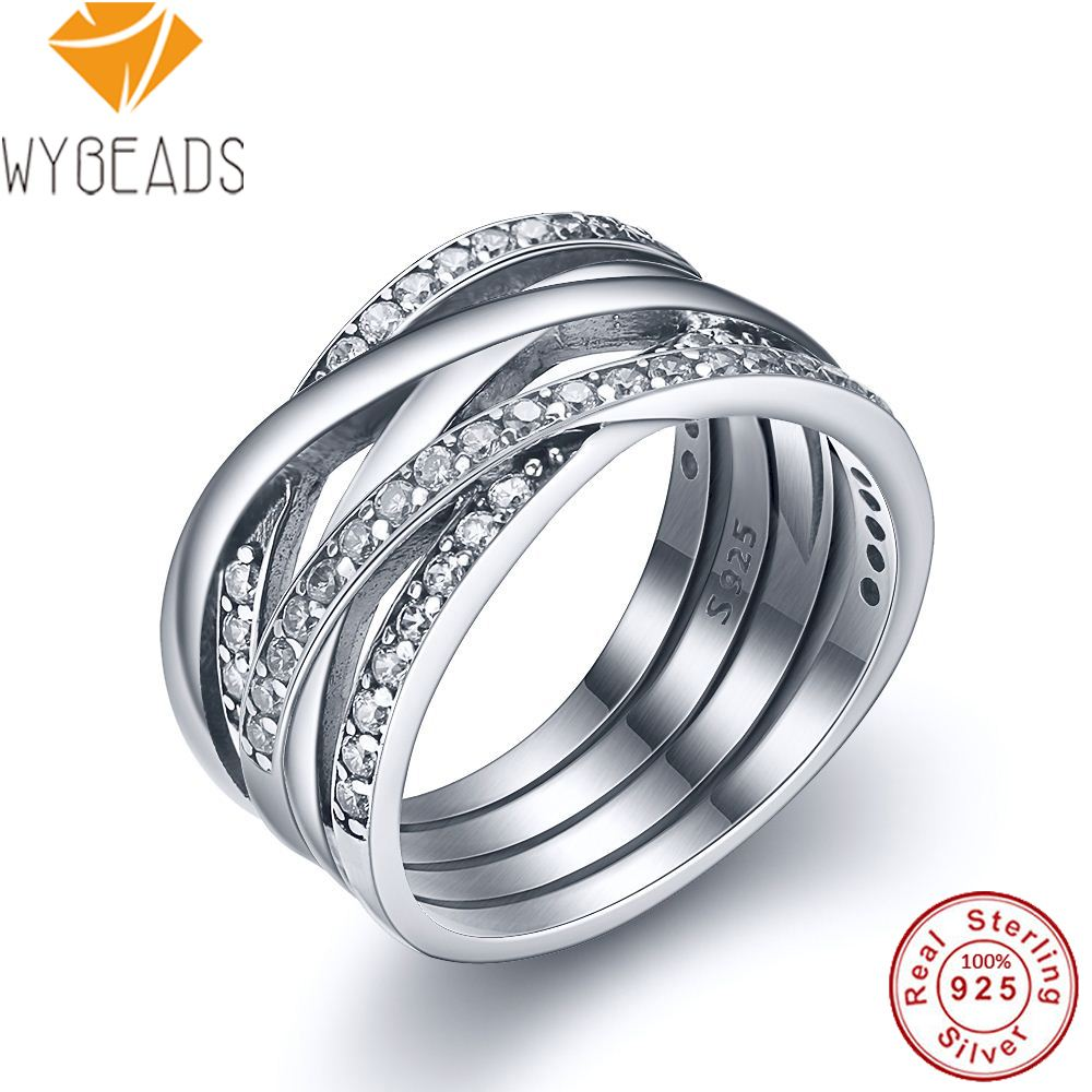 WYBEADS 925 Sterling Silver Entwined Rings With Clear Cubic Zirconia Finger Ring For Women Wedding Engagement Fashion Jewelry bravkis wedding bands eternity rings with zirconia for women cz crystal promise engagement finger ring bague jewelry bur0279