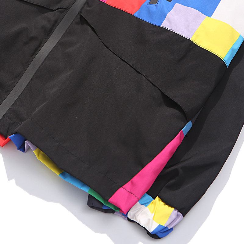 Harajuku Colorful Jackets Mens Hip Hop Hooded Windbreaker Jacket Hipster Color Block Patchwork Zip Jacket Streetwear Autumn 2018