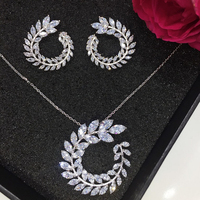 New Design Luxury AAA Cubic Zircon Olive Branch Shape Pendant Set For Women High Quality Party