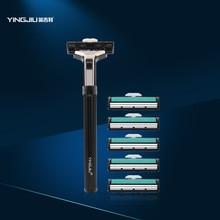 YingJiLI Brand Hot Men's manual razor Durable razor sharp Amd double razors manual tool rest 1 + 6 cutter blade home furnishings