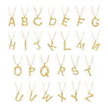26 Letter  Fashion Necklace Charm Bamboo Pendant Women Snake Chain Initial Choker Jewelry