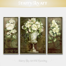 New Arrivals Hand-painted High Quality 3 Pieces Europe Flowers Oil Painting on Canvas Set Classical Flower