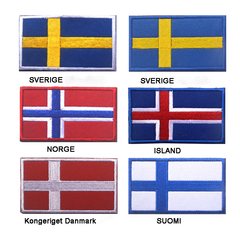 "NORWAY FLAG IRON ON PATCH 3/"" Embroidered Applique Norwegian Scandinavian Pride"