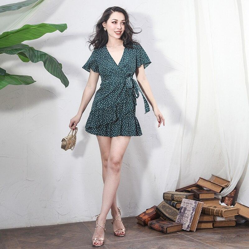 2018 été Vintage Dot Polka mousseline de soie robe volants coupe basse Slim taille haute fermeture éclair Placket robe pas Stretch