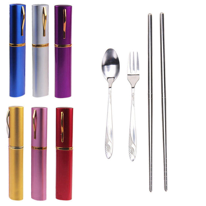 Camping & Hiking Outdoor Tablewares 3pcs Outdoor Tableware Sanitary Stainless Steel Chopsticks Fork Spoon For Camping Hiking Travel Ultra-light Picnic Cutlery Set