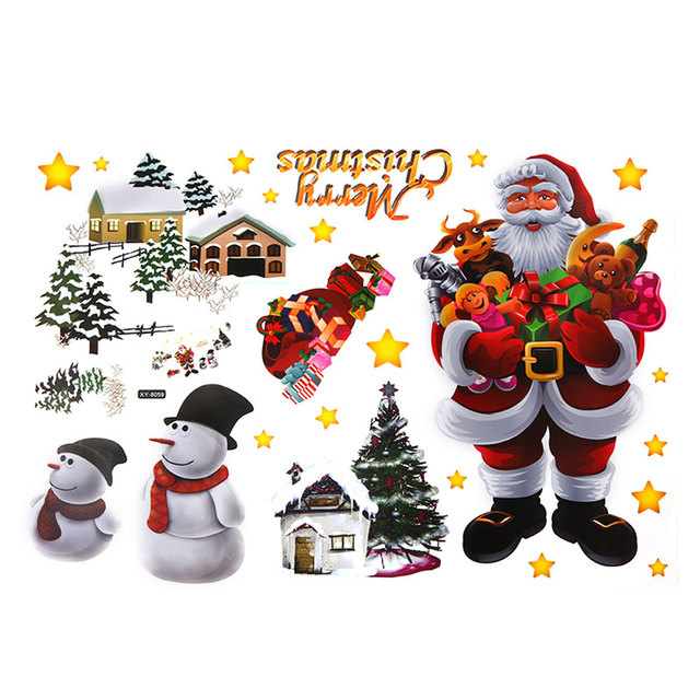 Christmas Wall Sticker Removable DIY Shop Window Stickers New Christmas Decorations for Home Natal New Year Decoration