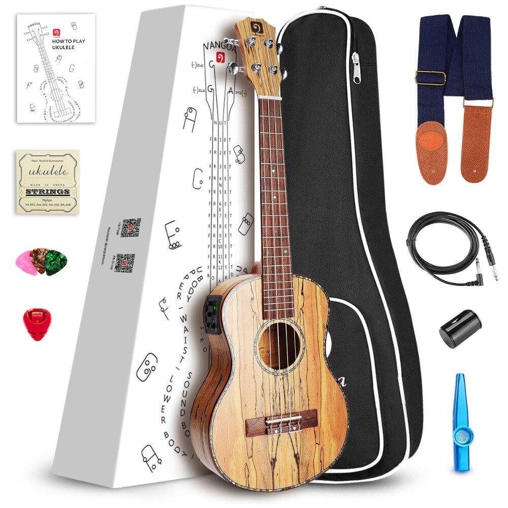 21 Soprano Ukulele Acoustique Électrique En Bois D'érable Mini Guitare, 3 Band EQ avec Ukulélé Kit
