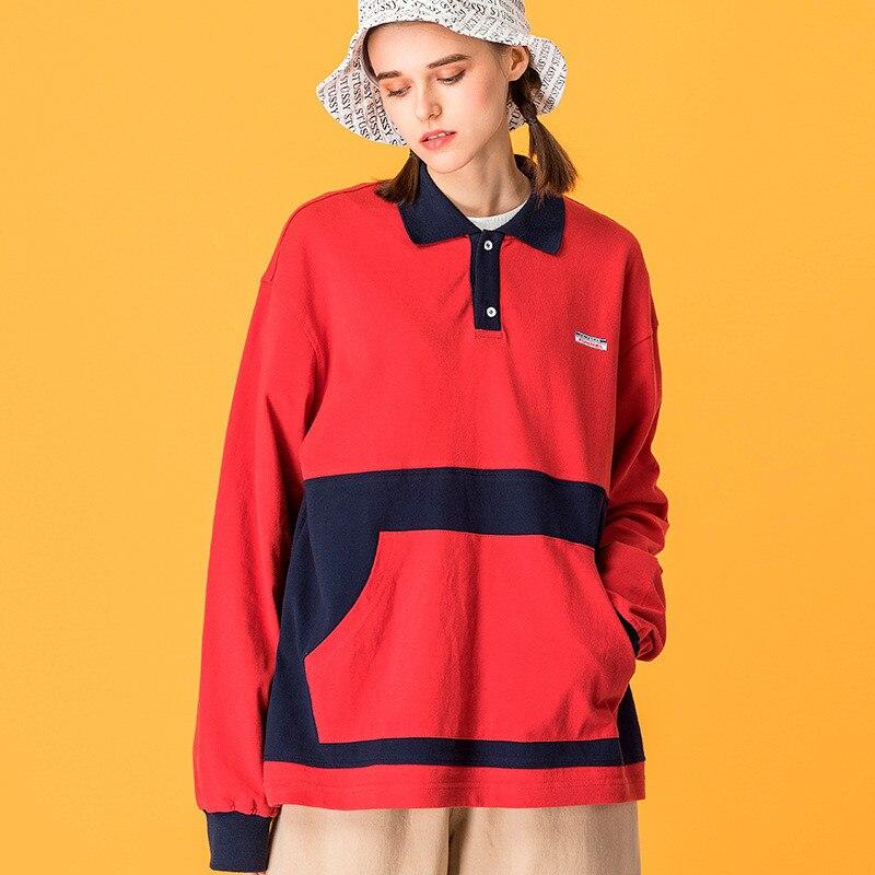 Japonais Harajuku Polo col grande poche sweat pour femmes urbain fille Streetwear Hip Hop Patchwork Sweatshirts grande taille