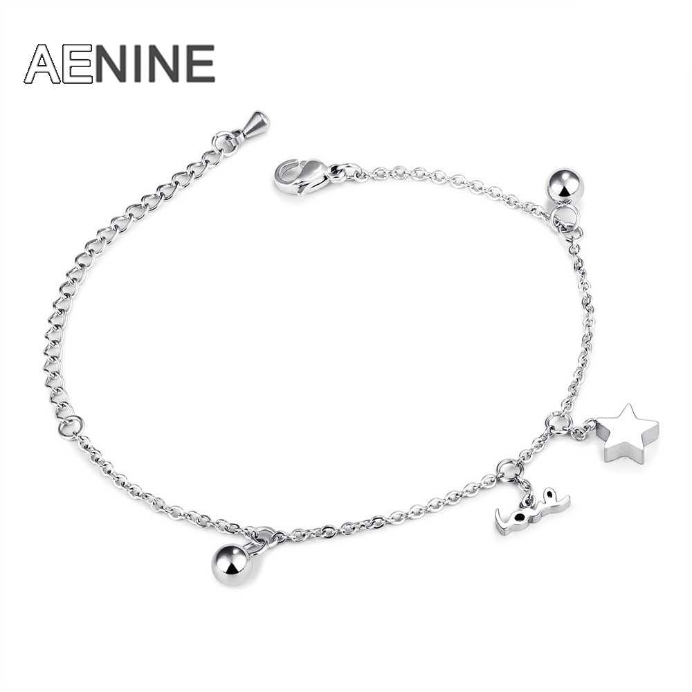 AENINE Classic Star Love Beads Charm Bracelet For Girl Trendy Stainless Steel Chain & Link Bracelets Jewelry DropShipping OGS863