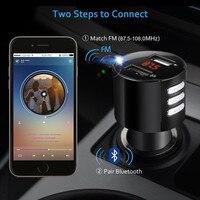fm משדר High Speed USB 2.0 Bluetooth לרכב USB מטען LED מסך משדר FM אלחוטי רדיו מתאם נגן MP3 מצית סיגריות # YL6 (4)