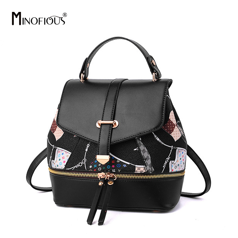 MINOFIOUS Multifunction Mini Backpack Women Cartoon Print PU Leather Backpacks Fashion Casual School Bags Small Bag Pack