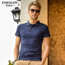 Enjeolon brand 2017 new Mens casual short sleeve polo Shirts England style solid black Clothing Tops Tee free shipping T1421