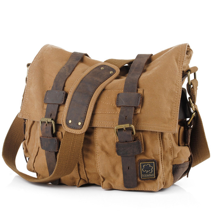 2b68705a6 S.C.COTTON Men's Women's Casual Vintage Canvas Leather Cotton Rucksack  Mountaineering Messenger Bag School Shoulder Bag-in Crossbody Bags from  Luggage ...
