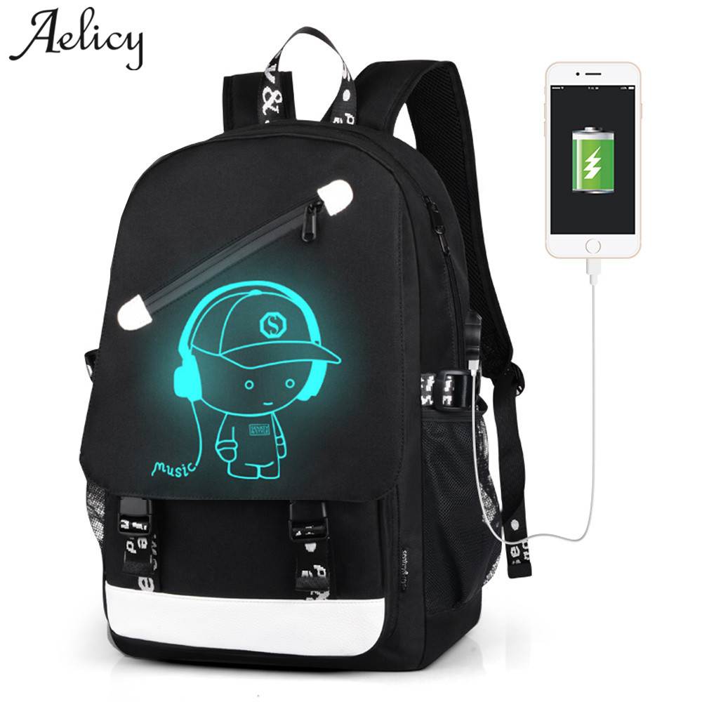 Aelicy Women Men School Bags School Backpack Student Luminous Teenager Usb Charging Anti-theft Lock Laptop Backpack Boy Girl Bag