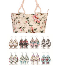 2018 Fashion Folding Women Big Size Handbag Tote Ladies Casual Flower Printing Canvas beach bag with 8 pairs earrings.(China)