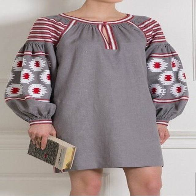 f5a3a60726 Gray Vita Kin style linen Cotton Belted TUNIC vyshyvanka dress white red  Embroidery For Mori Girl Women Loose national dress
