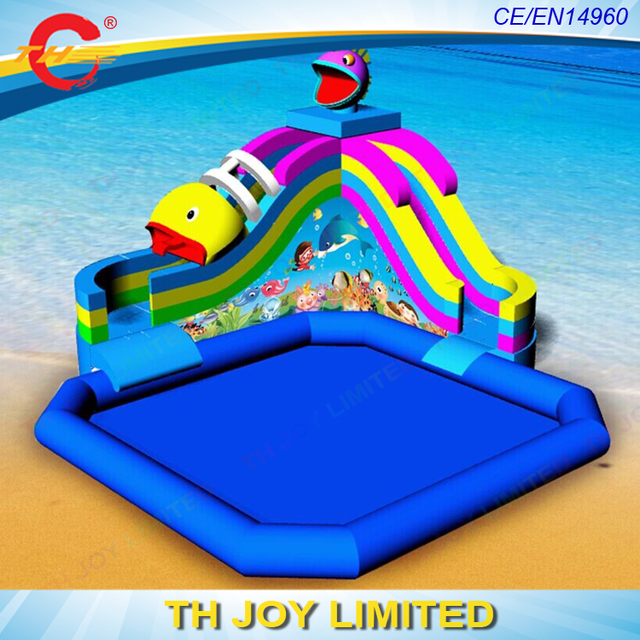 Piranha Giant Inflatable Water Slide With Pool,inflatable Pool Slide , Inflatable