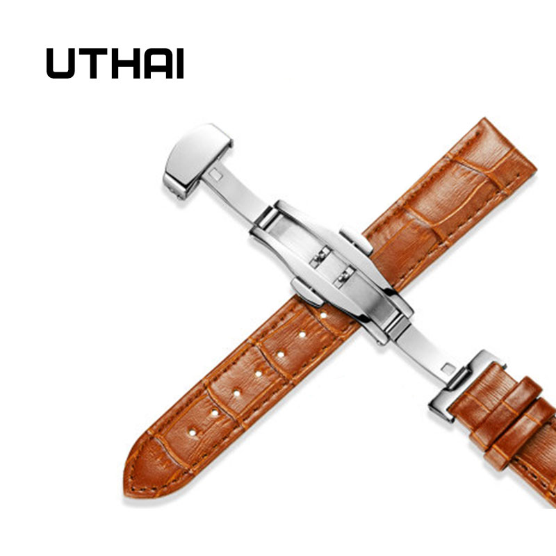 UTHAI Z09 Genuine Leather Watchbands 12-24mm Universal Watch Butterfly Buckle Band Steel Buckle Strap Wrist Belt Bracelet + Tool