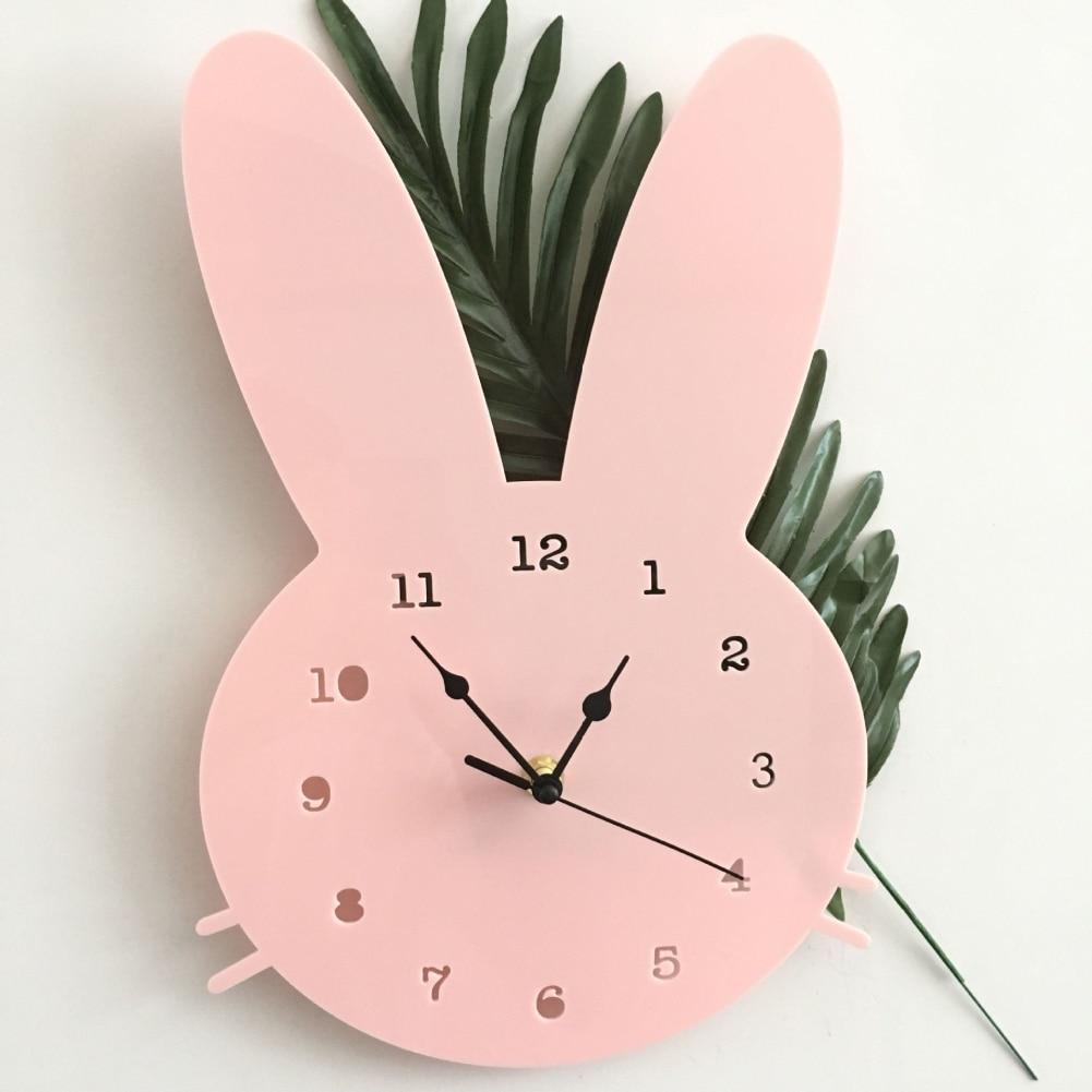 Home Cartoon Mute Clock Modern Design Nordic Wall Decoration Children's Room Clock Soft Wooden Rabbit Shaped Wall Clock