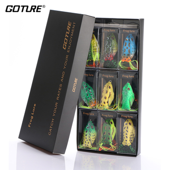 Goture 9pcs Soft Fishing Lure Topwater Frog Lures Silicone Artificial Bait 5.5cm/12.5g with Strong Gift Box Fishing Accessories