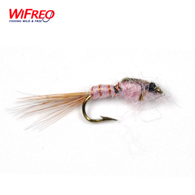 10PCS Wifreo Brass String Brown Nymph for Trout and Panfish Fly Fishing Mayfly Midge Size #12