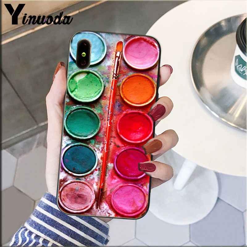 Yinuoda aquarelas conjunto paleta bolo macaroon maquiagem caso do telefone para apple iphone 8 7 6 s plus x xs max 5 5S se xr celulares