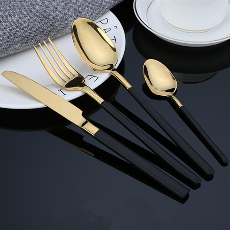 KuBac Hommi 2018 New 24pcs Golden Top Stainless Steel Steak Knife Fork Party Cutlery Dinnerware Set