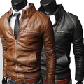 2013 New arrivals Men's Slim Zipper Designed PU Leather Coat Jacket Black Brown Size M-XXL Free shipping JPPY03