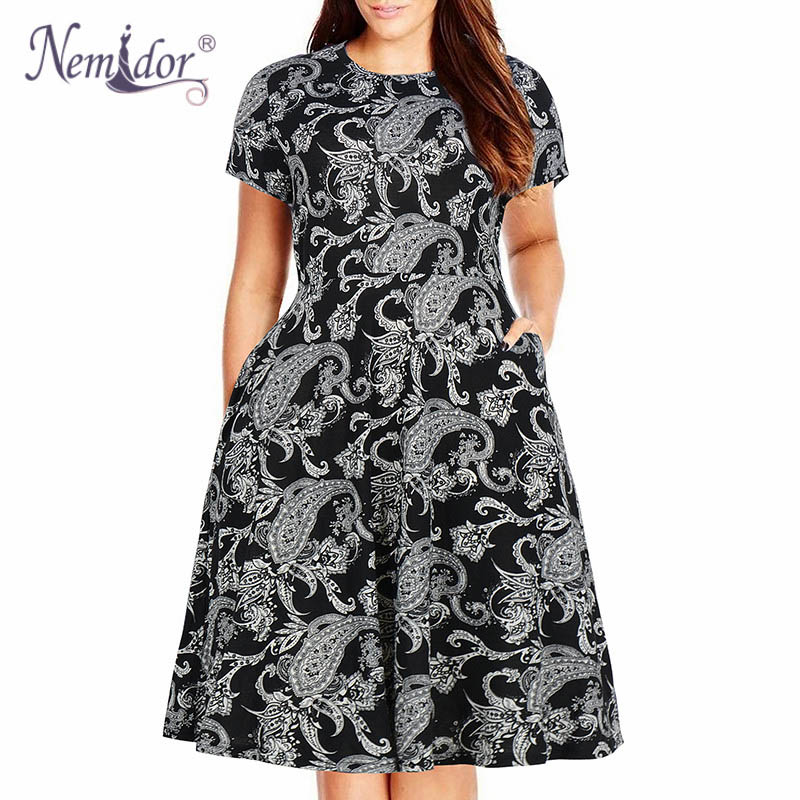 Nemidor Women's Round Neck Summer Casual Plus Size Fit and Flare Midi Dress with Pocket (1)