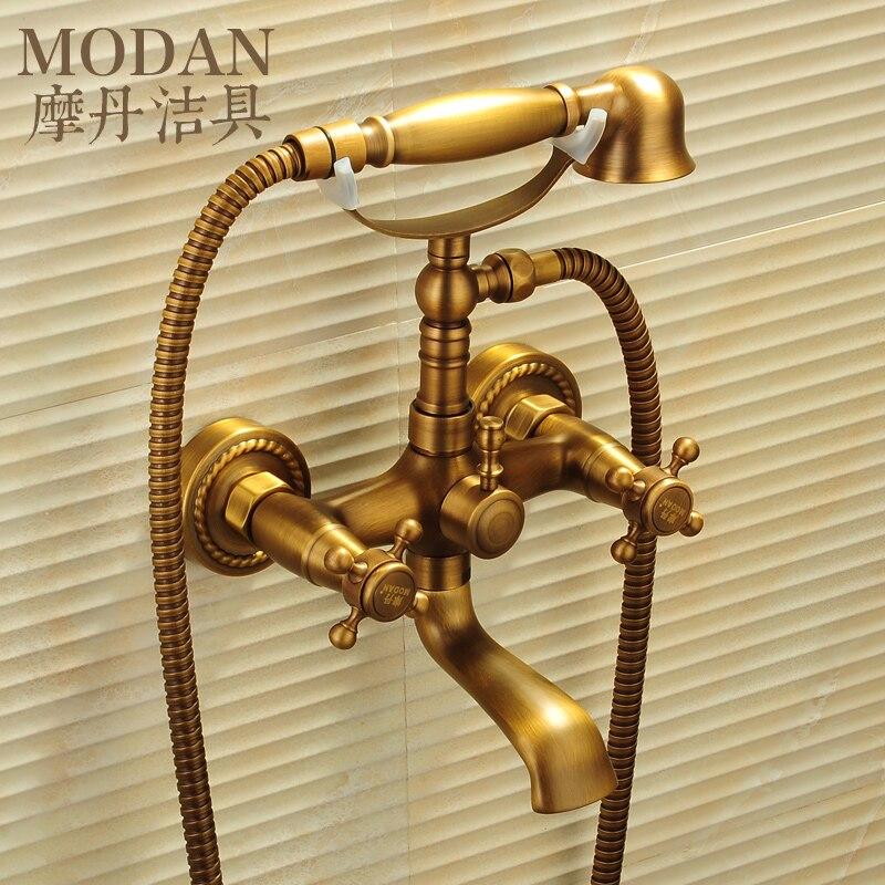Motan antique copper bathtub faucet shower faucet bathroom faucet triple mixing valve