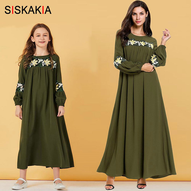 Siskakia Mother Daughter Matching Clothes Elegant Muslim Mom And Girl Family Outfits Autumn 2019 Long Sleeve Dress Embroidery
