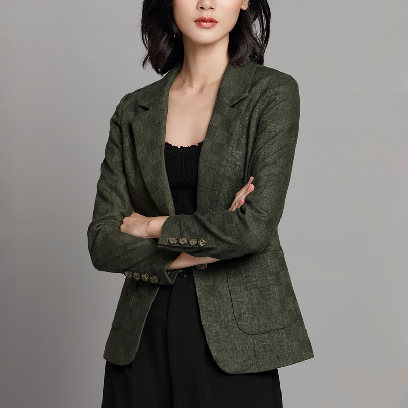 Retro plaid Blazer Feminino Ladies Blazer Suit Jacket Female 2018 New Spring Long Sleeve Linen Suit Blazer Women Blaser Mujer