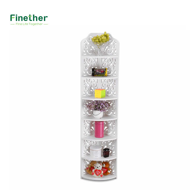 Finether 7-Tier Modular Cut-Out Quarter-Circle Wood Plastic Composite Corner Shelf Unit Storage Organizer Display Rack