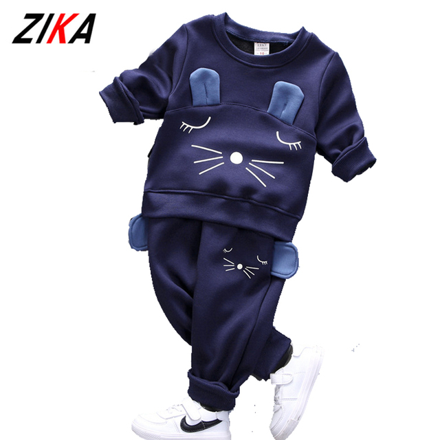 ZiKa 2017 Winter Baby Boys Girls Clothing Sets Fashion 3D Ears Style Sports Wear Long Sleeve Lucky Cat Pattern Kids Clothing Set
