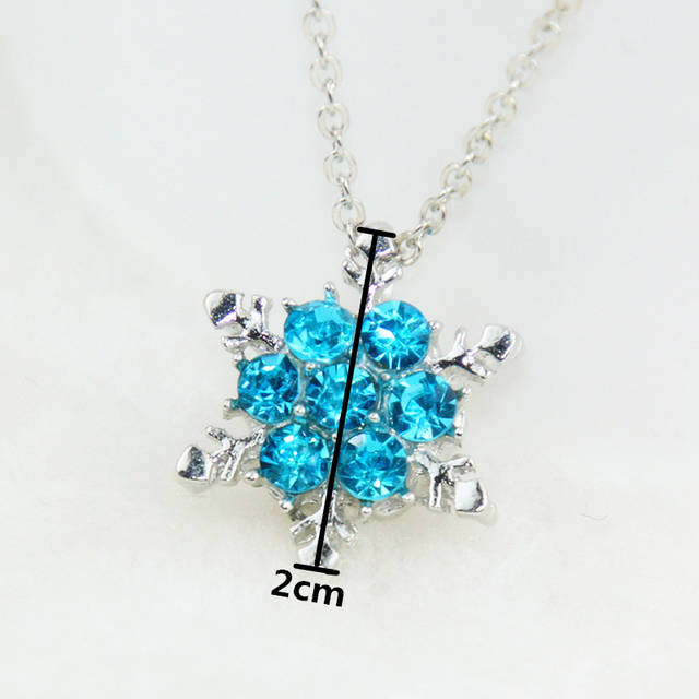 Online Shop x24 Fashion Jewelry Shiny Blue Crystal Rhinestone Pendant  Necklace Beautiful Snowflake Flower Necklace For Women Wedding Jewelry  9aae63f9430e