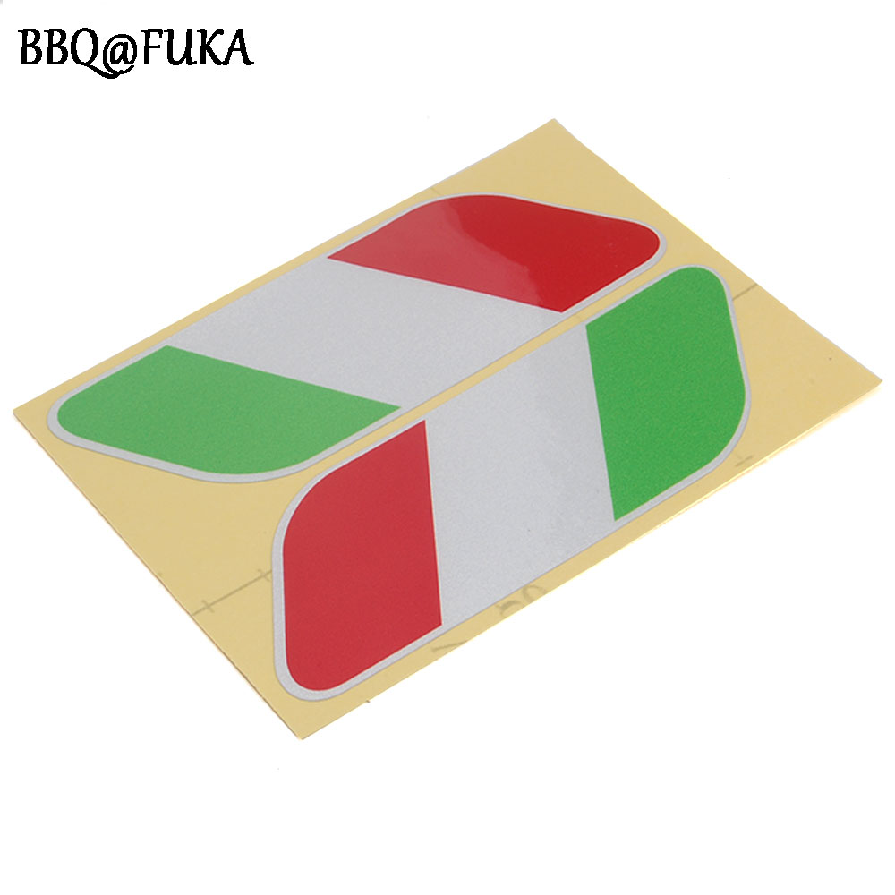ᐂBarbacoas @ fuka 2x Italia bandera reflectante etiqueta engomada ...