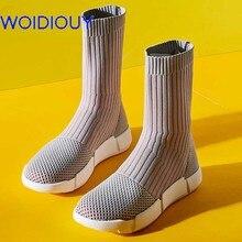 Handmade Respirável Oxfords Tênis de Boot para As Mulheres Mid-calf botas mujer tenis Sapatos Casuais Mulheres botas femininas de inverno