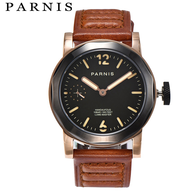 лучшая цена 43mm Parnis Casual Watch Men Mechanical Hand Winding Watches Seagull 3600 Movement Stainless Steel Case Rose Gold Man Wristwatch