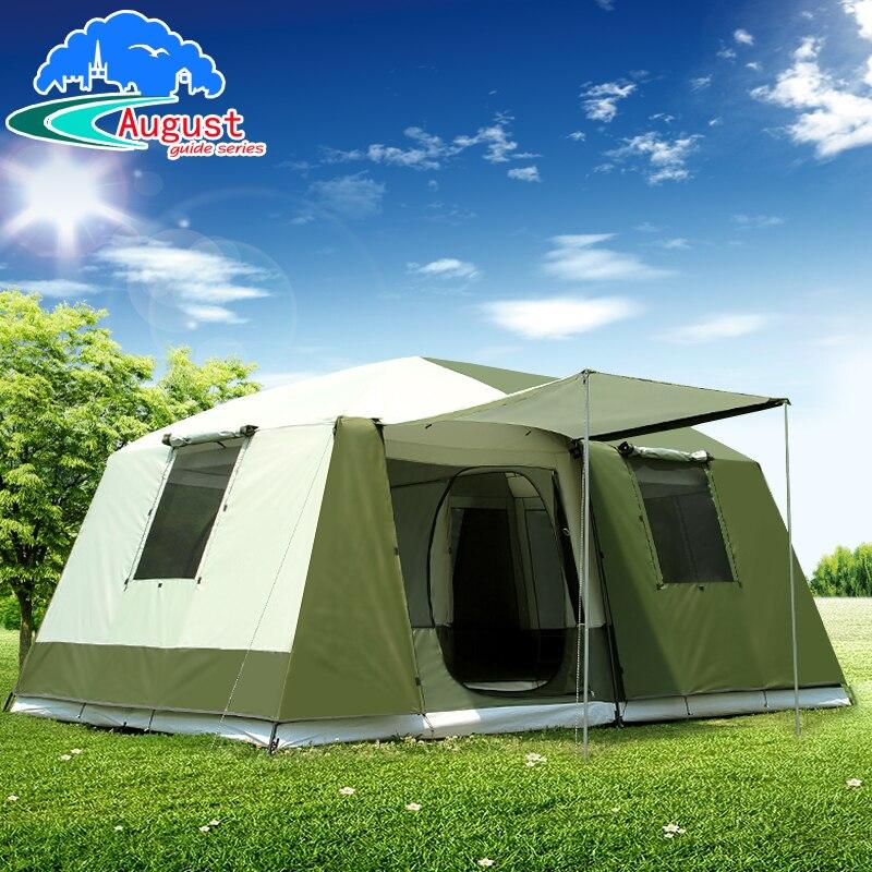 Agosto ultralarge una sala de dos dormitorios impermeable contra la lluvia grande camping carpa gazebo grande barraca tente