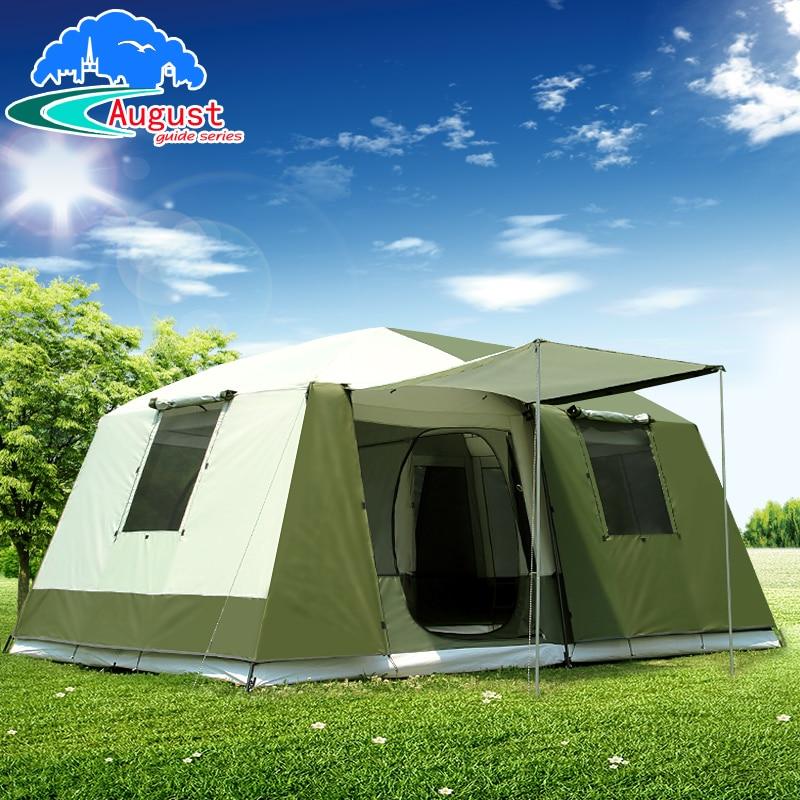 August Ultralarge One Hall Two Bedroom Waterproof Against Big Rain Camping Tent Large Gazebo Barraca Tente