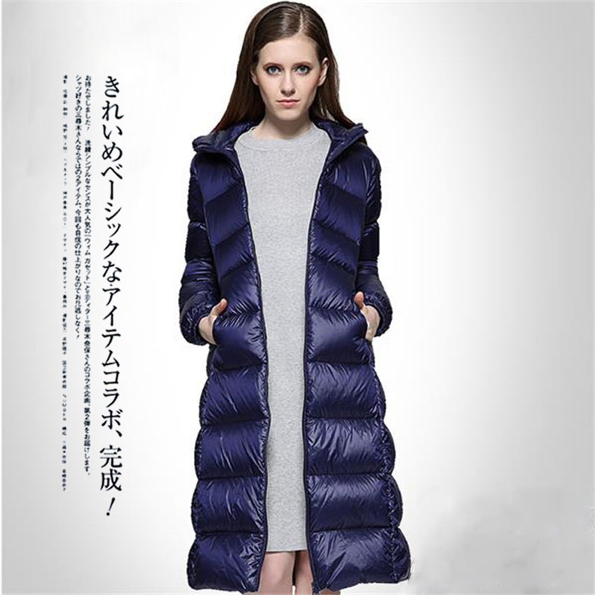 20118 Winter Big Size Women Long   Down     Coat   Light   Down   Jackets Slim Lady White Duck   Down   Jacket Hooded   Coats   Female Clothings 632