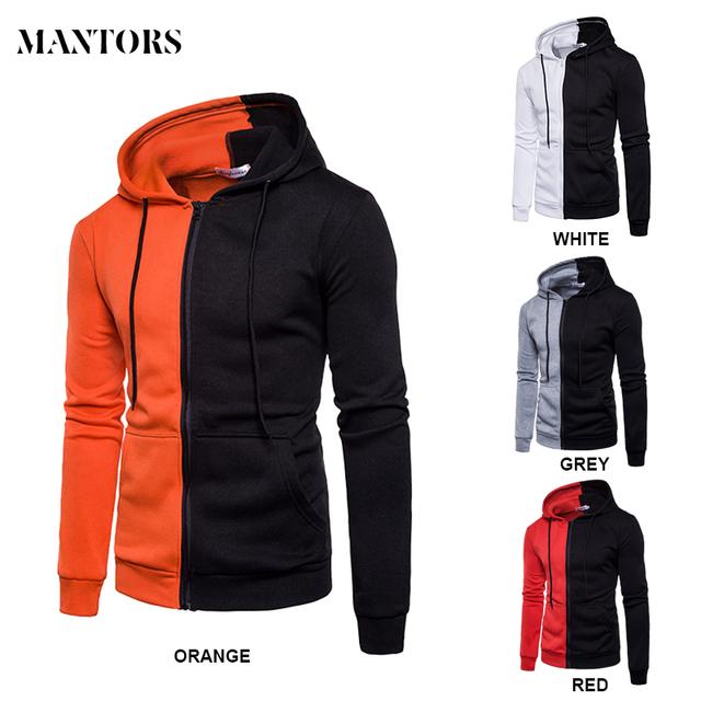 Casual Men Patchwork Hoodie Hooded Orange White Red Grey Sweatshirt Coat Jacket Mens Autumn Long SLeeve Hoody Man Clothing XXL