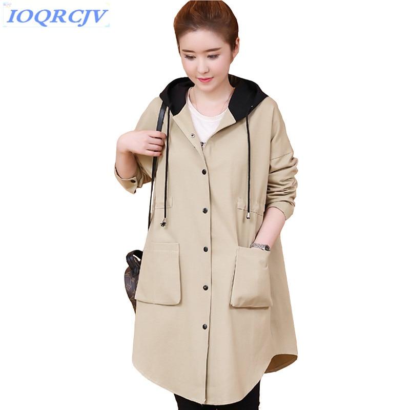 Plus size   trench   coat Women's 2018 spring Hooded Cardigan Windbreaker fashion Loose female Outerwear Medium length IOQRCJV N060