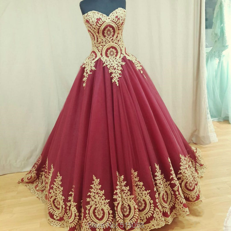 Gold Lace Appliques Sweetheart Ball Gowns Wine Red Wedding Dresses ...