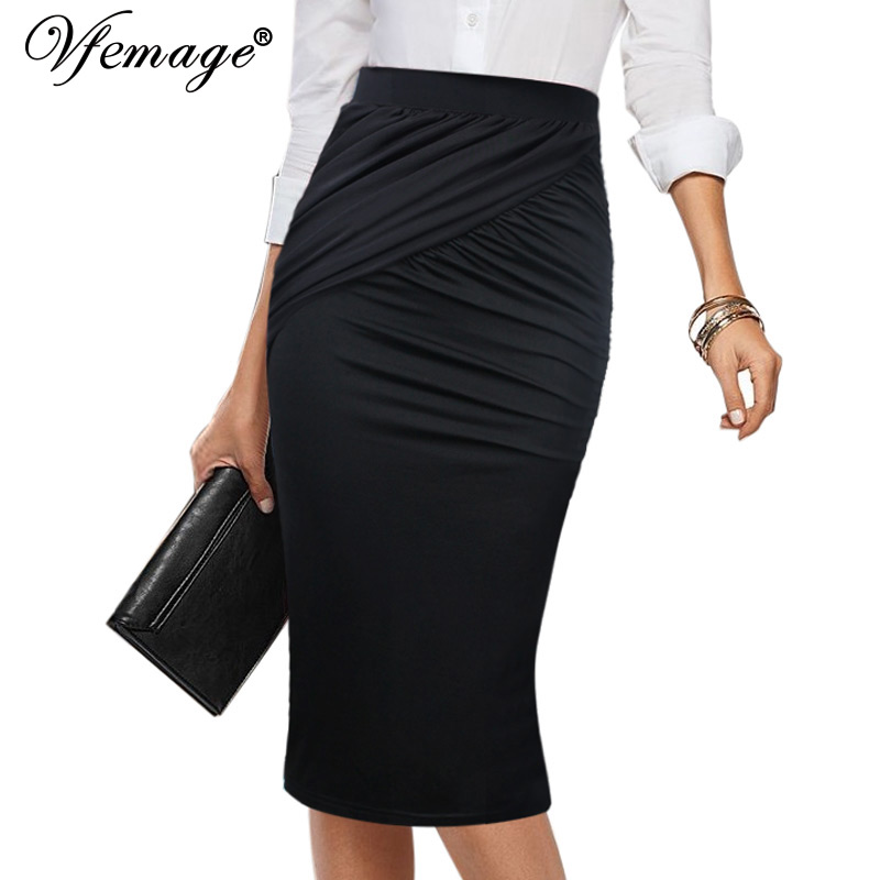 ce28068611 Vfemage Womens Elegant Ruched Pleated Elastic High Waist Slim Work Business  Office Casual Pencil Bodycon Midi