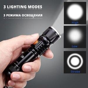 Image 4 - Mạnh Mẽ Đèn LED Với Đuôi Sạc USB Đầu Phóng To Đèn Pin Chống Nước Di Động Ánh Sáng 3 Chế Độ Chiếu Sáng Được Xây Dựng Trong Pin