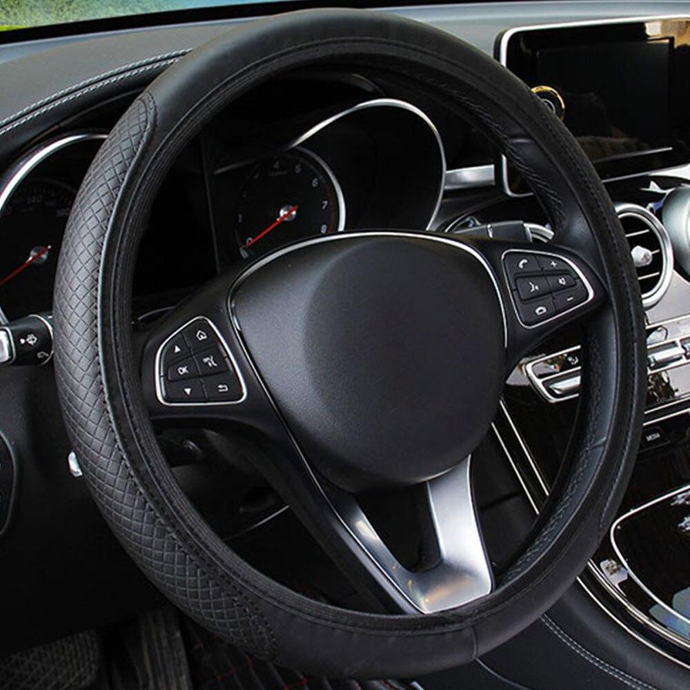 Рулевая намотка на руль наборы блюд Универсальный руль чехлы рулевое колесо дышат свободно 15 дюймов автомобили прочные - Название цвета: black