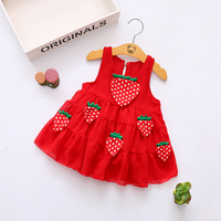 Baby Girl Strawberry Dress Baby 0 3Y Newborn Summer Flower Strawberry Cotton Dress Infant For Baby