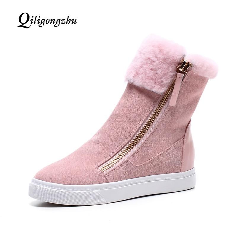 Frauen Neue pink Warme Stiefel Kuh Wildleder Winter Black Weibliche Lammfell 2019 Pelz Frau Flache Stiefeletten Wolle Mischung Schnee Schuhe vU4vqr