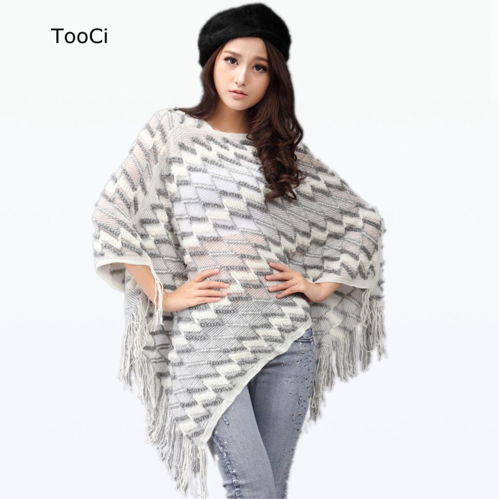 Fashion Autumn Women White Sweater Ladies Tassels Poncho Long Knitted Pullovers Knitted Cape Coat